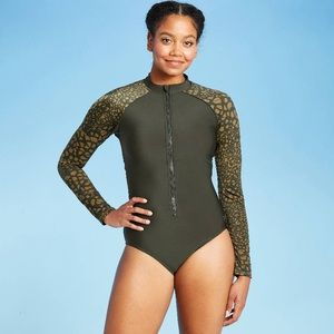 All In Motions One Piece Zip Rashguard Swimsuit L